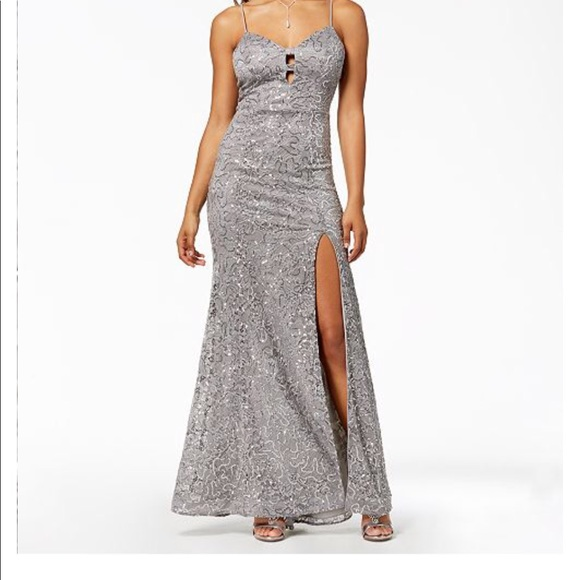 new images of footwear sale usa online Grey Sequin Prom Dress